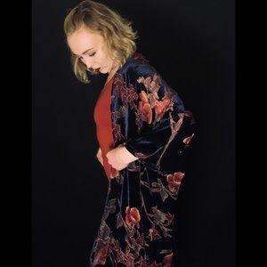 Brandy Melville Blue Velvet Kimono